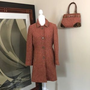 Coach Pink Tweed Coat with Leather Trim and Purse